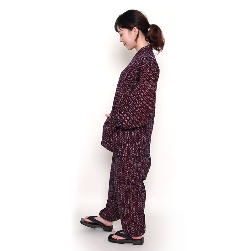 数量限定【新型】作務衣 [水鞠 パンツ両サイドポケット仕立て] 全3色 秋・冬・春向け 綿100% 女性用