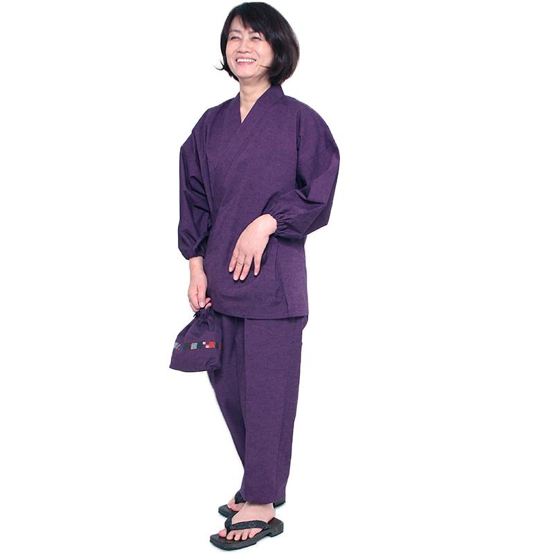 【新型】作務衣 [紬織り パンツ両サイドポケット仕立て]全5色 通年用 綿100% 女性用