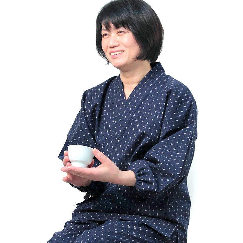 【新型】作務衣 [十字織り パンツ両サイドポケット仕立て] 全2色 通年用 綿100% 女性用