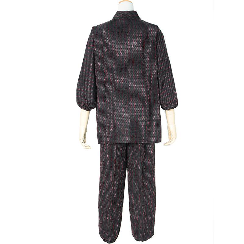 【新型】作務衣 [しずく刺し子 パンツ両サイドポケット仕立て] 全2色 通年用 綿100% 女性用
