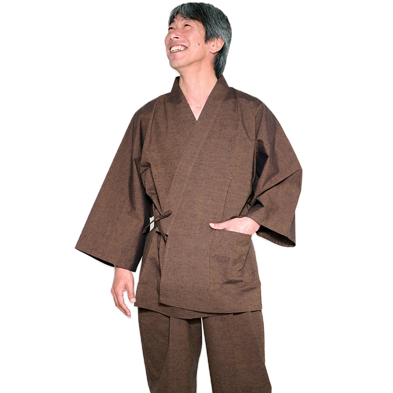 【在庫限り】作務衣 [紬織り] 全5色 通年用 綿100% M/L/LL 当社一番人気作務衣 [TV] TBSテレビ「4分間のマリーゴールド」着用