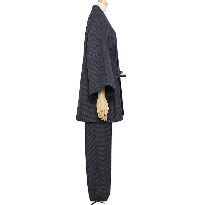 【新型】作務衣 [亀甲 パンツ両サイドポケット仕立て] 紺・グレー 秋~春用 綿100%  M/L/LL