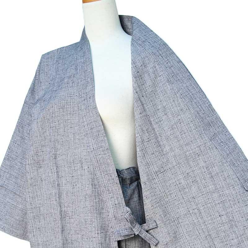 【新型】作務衣 [よろけ織り パンツ両サイドポケット仕立て] 全3色 秋~春用 綿100% M/L/LL