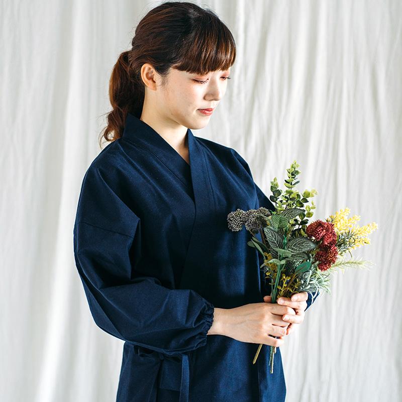 作務衣 [紬織り] 全5色 通年用 綿100% 女性用