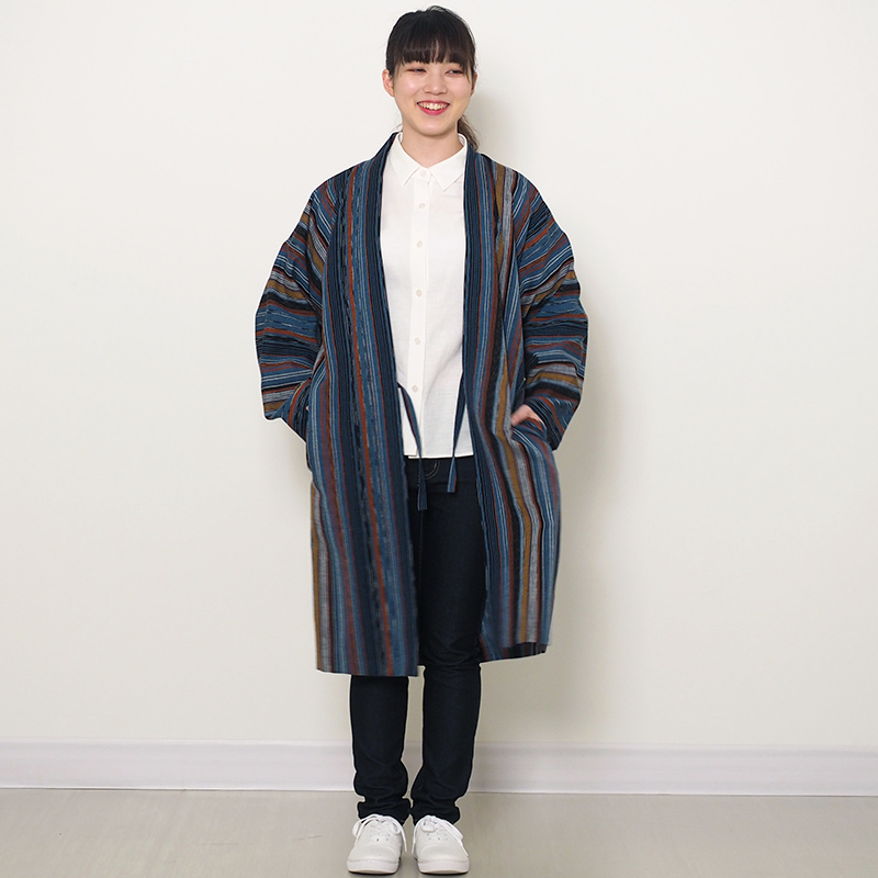 haori [hokibosi long] ブルー ロング丈 通年向け 綿80%・麻20%