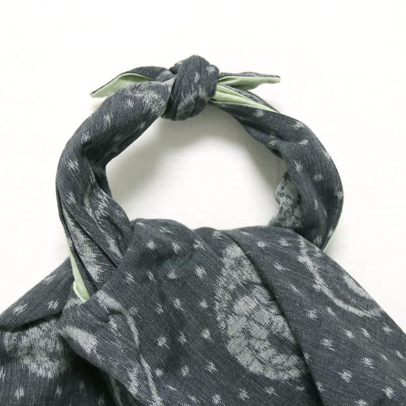 五感 エコバッグ [あづま袋 ほぐし織り] 綿100% グレー×グリーン(リバーシブル仕様)