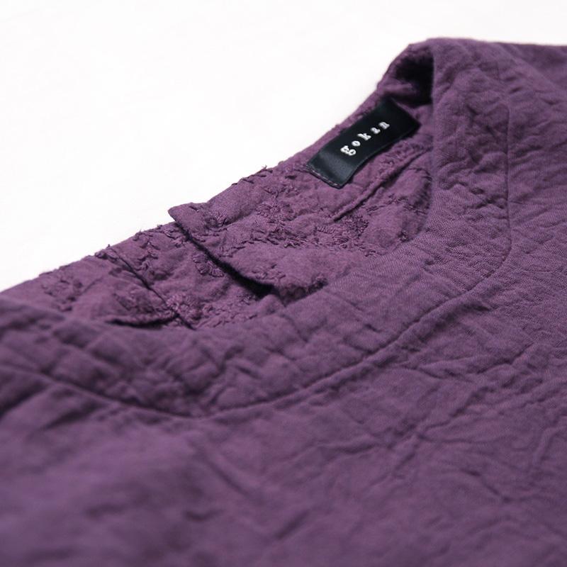 五感 トリプルガーゼ [ワンピース] 全2色 綿100% M~Lサイズ 長袖(折り返し可能)