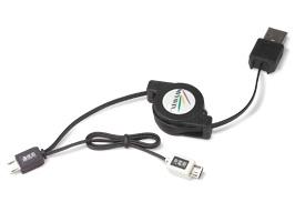 リトラクタブルケーブル・デュアル(Micro-USB Bタイプ)