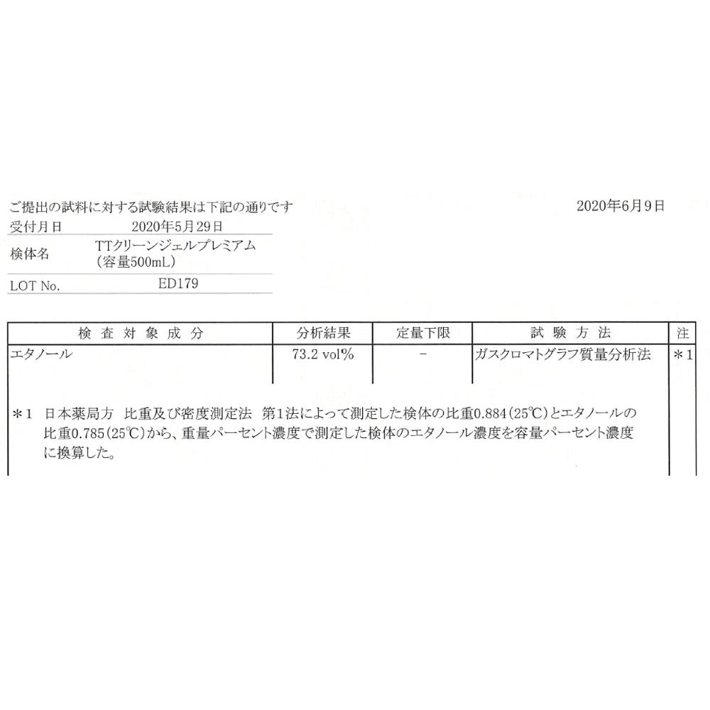 【500ml×20本セット】TTクリーンジェルプレミアム  500ml エタノール70%