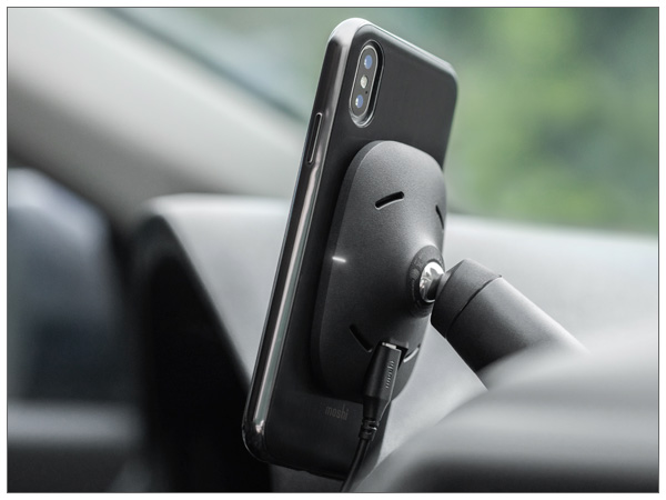 moshi SnapTo Car Mount with Wireless Charging (Black)【ポイント10倍】