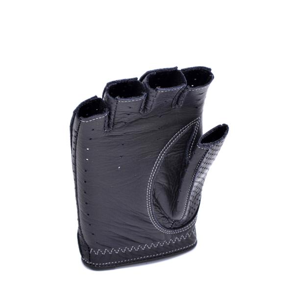 カカザン ドライビンググローブ CACAZAN DDR-070 ブラック シルバーステッチ  半指 鹿革 黒 本革 プレゼント 誕生日 ギフト