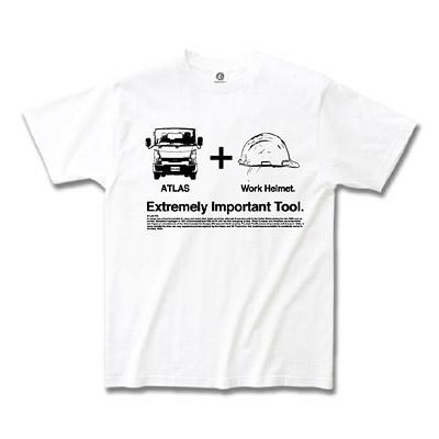 日産カスタムアパレルプロジェクト アトラス 「Extremely Important Tool. Helmet」 Tシャツ ホワイト