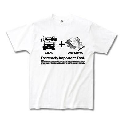 日産カスタムアパレルプロジェクト アトラス 「Extremely Important Tool. Gloves」  Tシャツ ホワイト