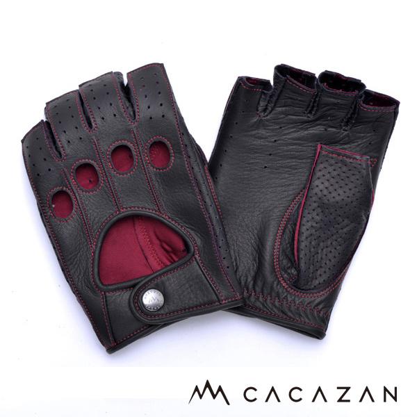 カカザン ドライビンググローブ CACAZAN DDR-070 ブラック レッドステッチ