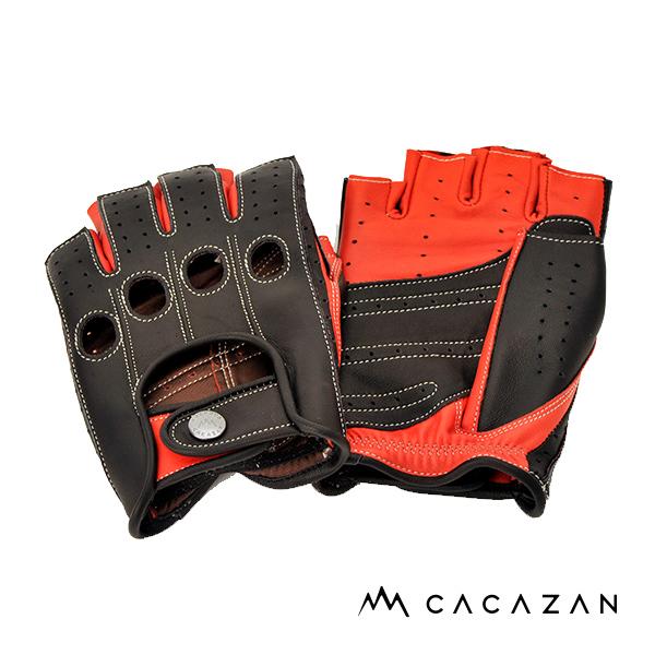 カカザン ドライビンググローブ CACAZAN SDR-071R ラムレザー ブラック×レッド 羊革 ドライビング グローブ 半指 父の日 ギフト