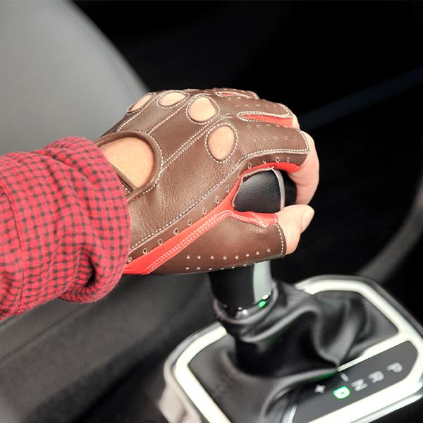 カカザン ドライビンググローブ CACAZAN SDR-071R ラムレザー ブラウン×レッド 羊革 ドライビング グローブ 半指 本革 茶 赤 父の日 ギフト