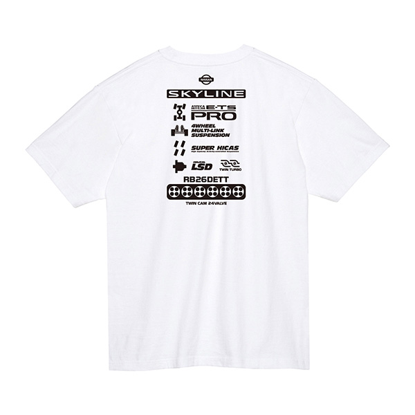 スカイライン GT-R R34 ファンクショナル Tシャツ ver.B ホワイト