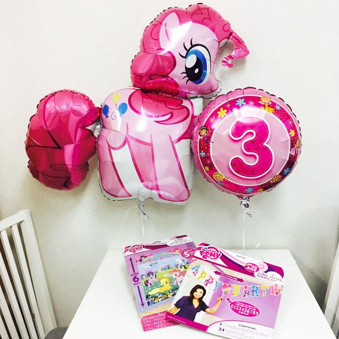 [誕生日バルーンとパーティーグッズセット]お部屋を豪華に飾れる!マイリトルポニーパーティーセット