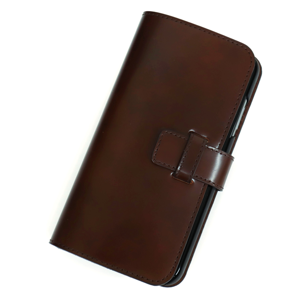 選べる2カラー【iPhone XS Max 用】 コードバン 本革レザーケース(手帳型) ブラック or ブラウン カバーケース・ホルダー