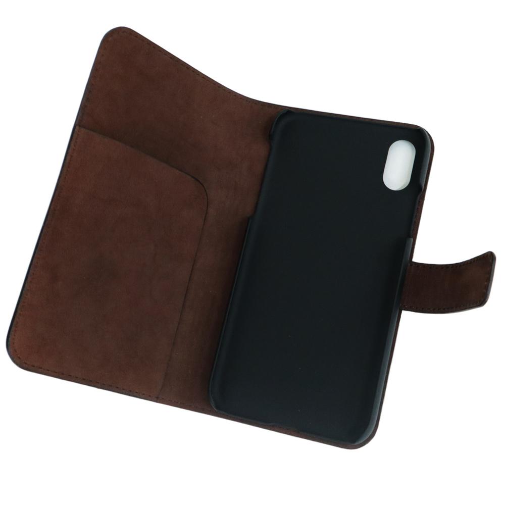 選べる2カラー【iPhone XR 用】 コードバン 本革レザーケース(手帳型) ブラック or ブラウン カバーケース・ホルダー