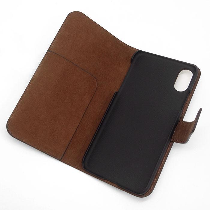 選べる2カラー【iPhone XS / X 用】 コードバン 本革レザーケース(手帳型) ブラック or ブラウン カバーケース・ホルダー