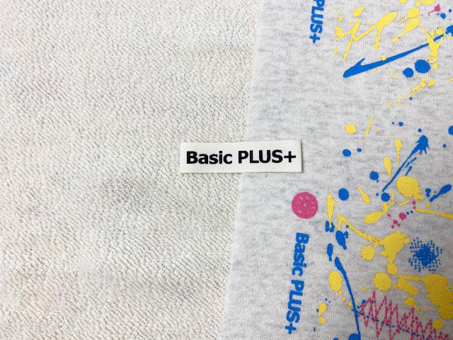 40/10TOP杢裏毛ニット オートミール杢 スプラッシュステッチ柄 ピンクブルー
