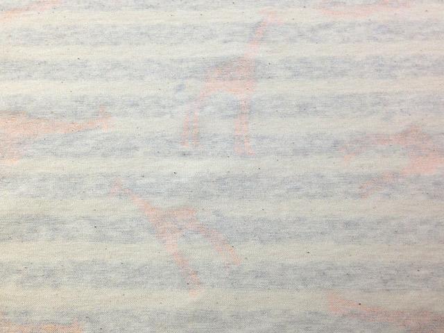 オリジナル30/-TOP杢リバー天竺ボーダー エクリュ×オートミール杢 キリン柄