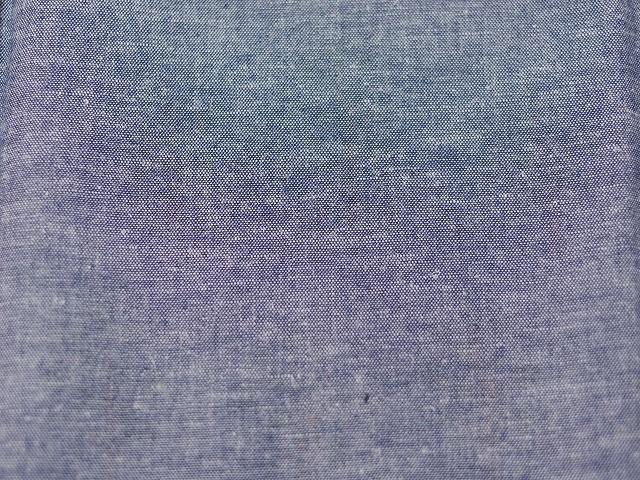 先染綿/麻ダンガリー ブルー コウフクノキ グリーン