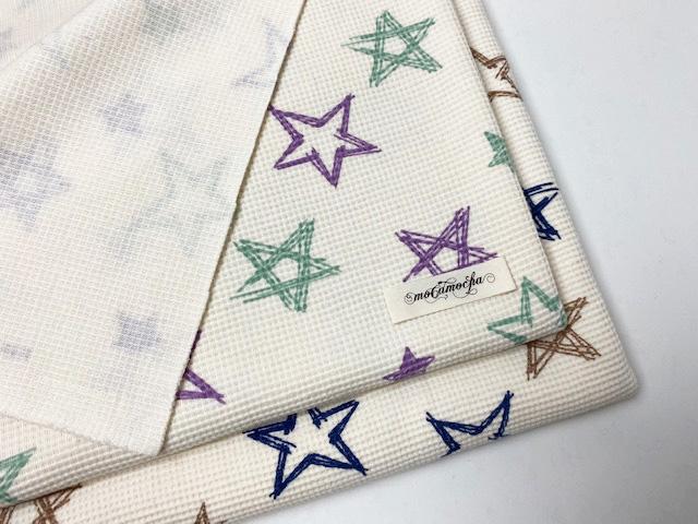 40/パフワッフル ペイント星柄 エクリュ×オーキッドミント
