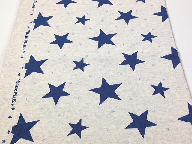 オリジナル30/20TOP杢裏毛ニット オートミール杢 星柄 オーシャンブルー×シルバー