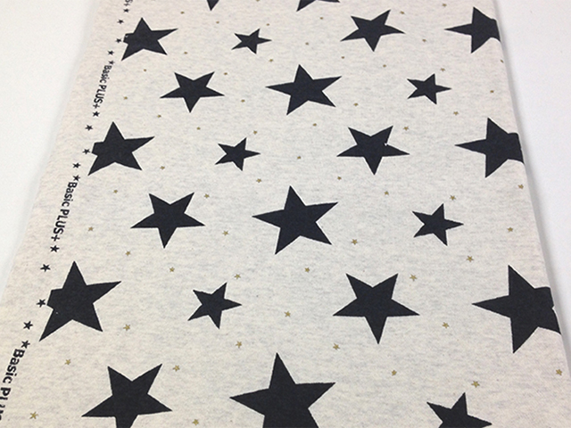 40/10TOP杢裏毛ニット オートミール杢 星柄 チャコール×ゴールド