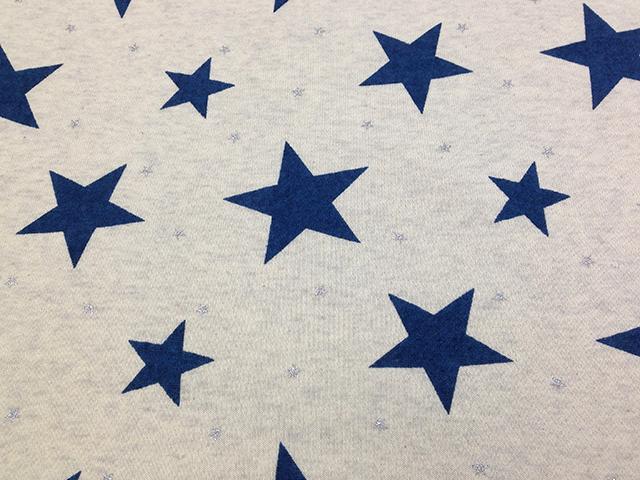 40/10TOP杢裏毛ニット オートミール杢 星柄 オーシャンブルー×シルバー