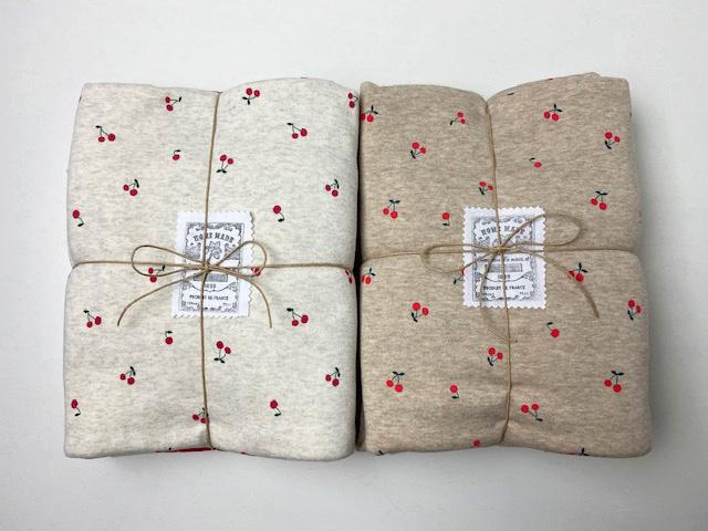 オリジナル30/20TOP杢裏毛ニット オートミール杢 さくらんぼ柄SET