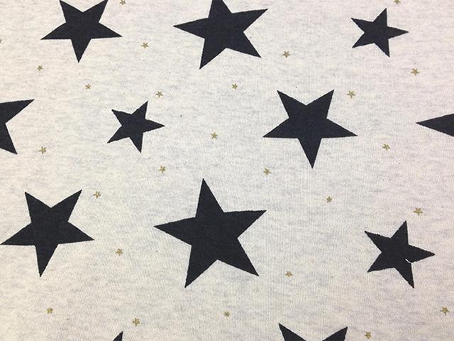 オリジナル30/20TOP杢裏毛ニット オートミール杢 星柄 チャコール×ゴールド