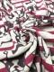 30/-TOP杢ネップリバー天竺ニット フレンチブルちゃんボーダー柄オートミール杢ジェスターレッド×ハックルベリー