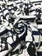 30/-TOP杢ネップリバー天竺ニット フレンチブルちゃんボーダー柄 オートミール杢ネイビー×ブラック