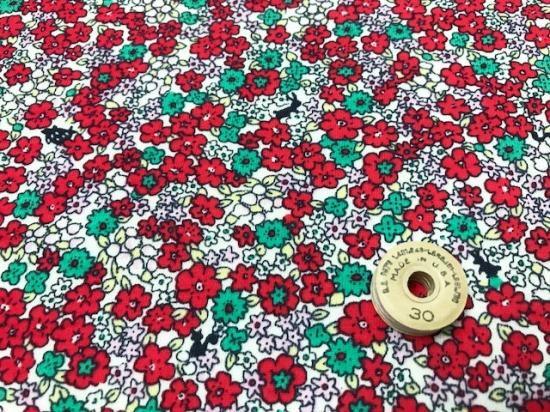 オーガニック30/-コンパウンド天竺ニット フラワーアンジェ花柄エクリュ×トマト