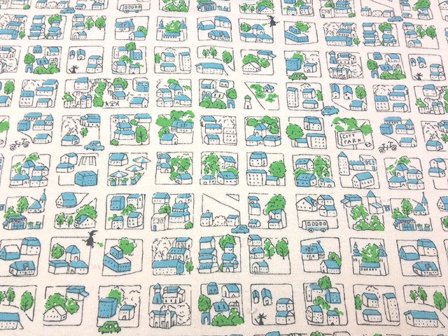40/コーマスムースニット キナリ 魔女ネコ柄 サックス×グリーン