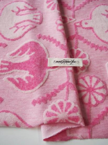 【カット済】30/カラーTOP杢コットンべロアカットジャガードニットフラワーバード柄ピンク杢