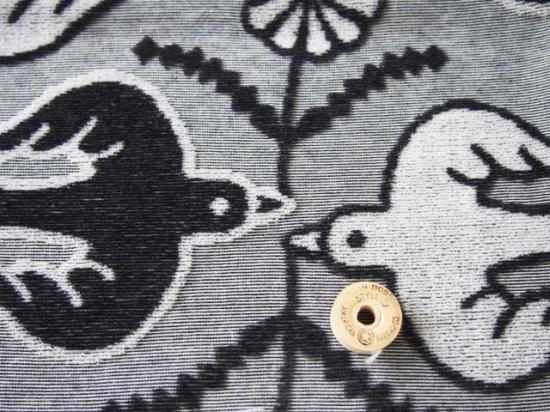 【カット済】30/カラーTOP杢コットンべロアカットジャガードニットフラワーバード柄チャコール杢