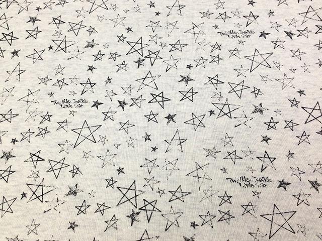 オリジナル30/-TOP杢リバー天竺ニット オートミール杢 星くず柄 チャコール