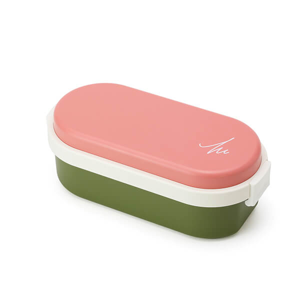 GEL-COOL ランチボックス | Dome Mサイズ | マカロンピンク × オリーブグリーン | #904 MOCOMICHI HAYAMI