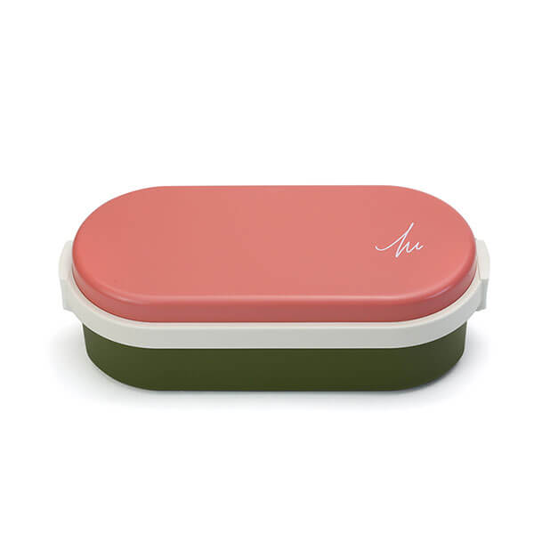 GEL-COOL ランチボックス | Dome Lサイズ | マカロンピンク × オリーブグリーン | #907 MOCOMICHI HAYAMI