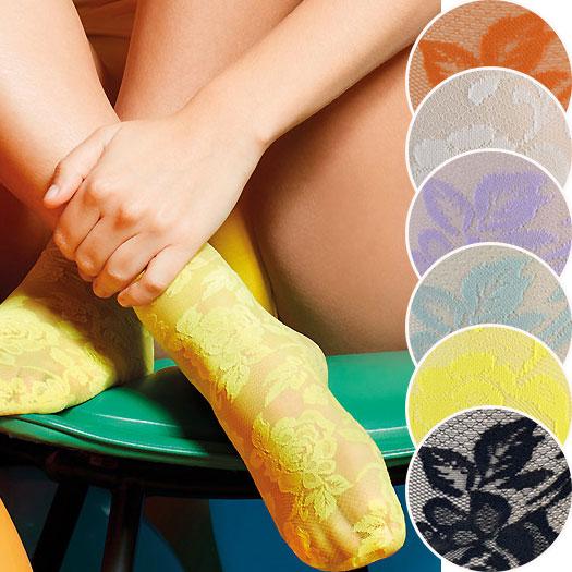 【2020春夏】イタリアインポート高級ブランド 柄ソックス OROBLU ALL COLORS カラーレースソックス 6色