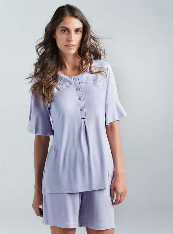 【2021春夏】イタリアインポートパジャマ LORMAR CAMELIA 0368 レース付半袖ショートパンツパジャマ 2色