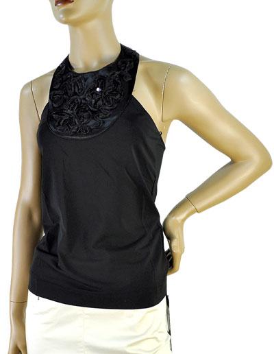 SALE 春夏 インポート カットソー ELEONORA AMADEI カクテルコレクション リボン刺繍ホルターネックトップ 黒