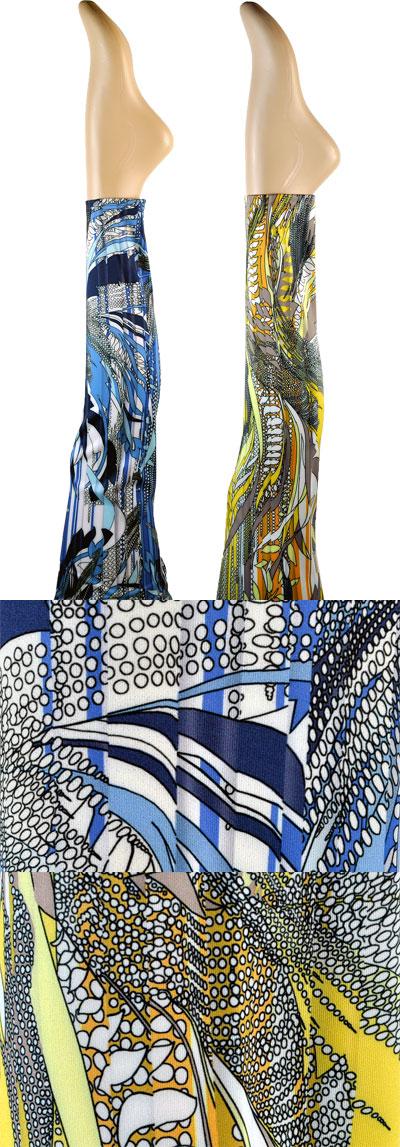 インポート レギンス OROBLU MYTHICAL スカーフ柄レギンス(ジェギンス) ブルー 黄色