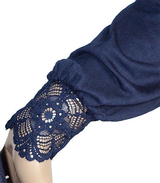 【SALE 秋冬】イタリア インポート ブランド カットソー  ANTONELLA 64014 レース切替長袖カットソー ブルー