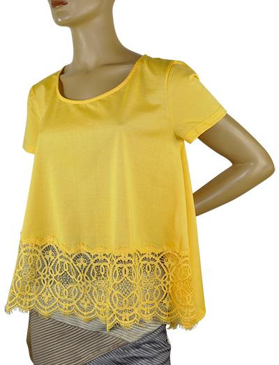 SALE 春夏 インポート カットソー 高級ブランド MORETTA 7731-4 レース切替カットソー 黄色