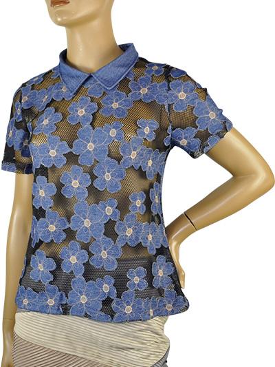 SALE 春夏 インポート カットソー 高級ブランド MORETTA 4007-4 花刺繍カットソーブラウス ブルー・黒